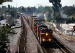 BNSF 7228 leads a stack train through Fullerton